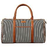 Stripe Canvas Travel Duffel Bag for Women Luggage Tote Gym Bag (stripe black)