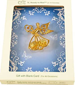 24K Gold Plated Angel with Swarovski Austrian Crystals, a Blank CHARM CARD {R} and an Envelope in a Mailable Gift Box (Patented in 6 Countries)