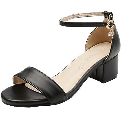 SMILICE Damen Mode Sandalen Flach Schnalle Schuhe