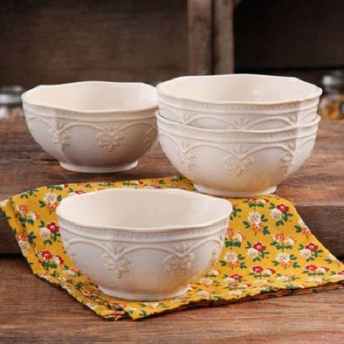(The Pioneer Woman Farmhouse Lace Bowl Set | Antique Finish Durable Stoneware Lace Bowl Set, 4-Pack, Linen (1))