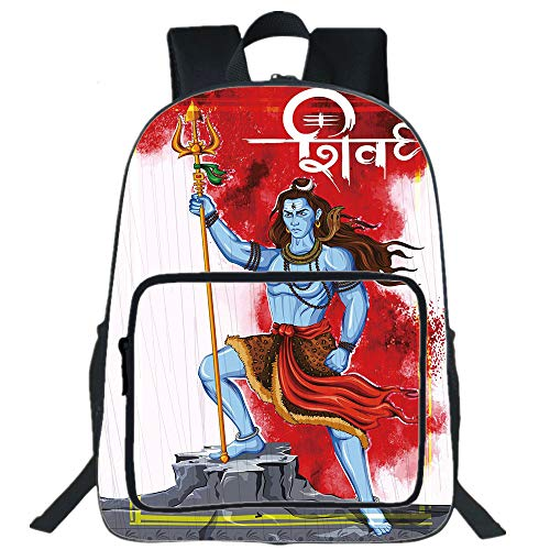 ual Backpack,Ethnic,Mighty Figure Standing on Rock with Trident Religion Worship Theme Ornate Framework,Multicolor,for boys girls ()