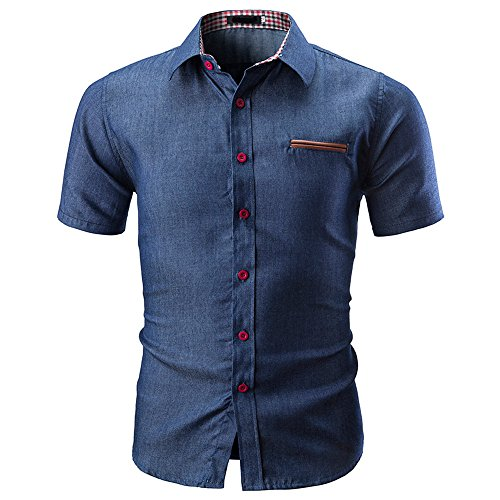 Benficial Men's Casual Slim Fit Button Down Dress Solid Colo Shirt Short Sleeve Denim Shirts Navy