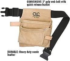 CLC Custom Leathercraft IP489X 3 Pocket Suede Tool Bag with Poly Web Belt