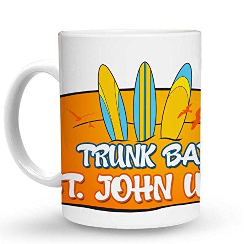 (Makoroni - TRUNK BAY ST. JOHN USVI Surf Surfing Mug - 11 Oz. Unique Coffee Mug, Coffee Cup)