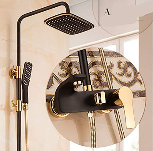 Shower Modern and Simple Wall-Mounted 9 Inch Top Spray Square Waterfall Bath Shower Sets, Black ABS Plastic Copper Fittings 1.5m Hose, Hot and Cold Water Hand Shower Single Handle 3-Hole Ins