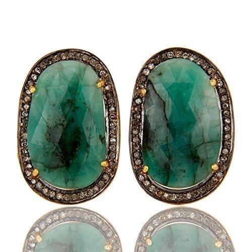 Emerald Gemstone Cuff links, Pave Diamond Sterling Silver Gemstone Jewelry, 14k Gold Gemstone Diamond Cufflinks by PANOPLY JEWELRY