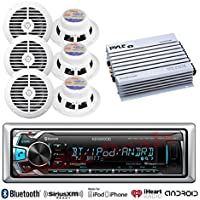 New Kenwood Outdoor Waterproof KMRM318BT ATV Bike Yacht Bluetooth USB AUX Radio, 6x 6.5 Inch White Marine Speakers, 400W Marine Amp -Outdoor Audio Kit