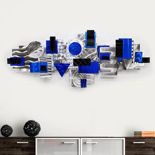 Geometric Abstract Modern Blue, Black and Silver Metal 3D Sculpture