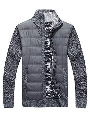 Yeokou Men's Casual Slim Full Zip Thick Knitted Cardigan Sweaters with Pockets (Medium, Y-11-Dark Grey)