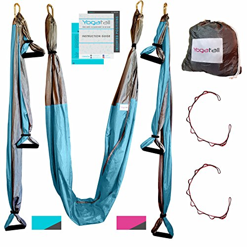 Aerial Trapeze Yoga Swing Gym Strength Antigravity Yoga Hammock Inversion Trapeze Sling Exercise Equipment with Two Extender Hanging Straps Blue Pink Grey Swings & Beginner Instructions