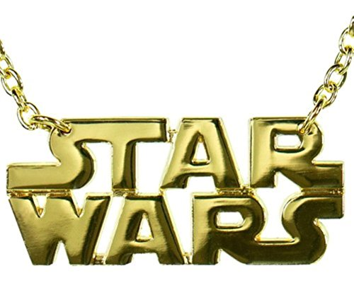 Star Wars Text Gold Logo Necklace Pendant Silver Metal Costume Fashion Halloween Gift for $<!--$14.08-->