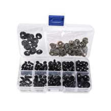 1 Box(100PCS) 6-12mm Plastic Safety Eyes Noses Kits with Washers for DIY Sewing Crafting Buttons for Puppet Bear Doll Animal Stuffed Toys (Black)