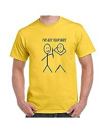 Mens Funny Sayings Slogans T Shirts-I've Got Your Back!-Stickmen tshirt-YEW-M