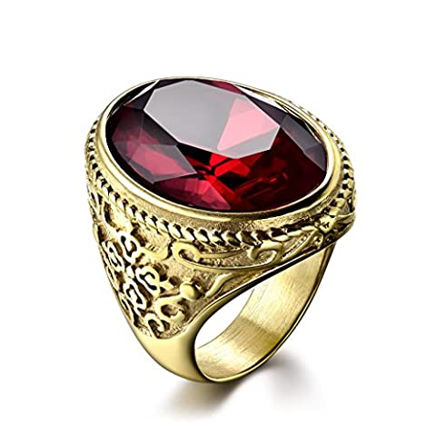 MASOP Mens 316L Stainless Steel Cocktail Ring Oval Created Ruby Gold Tone Rings Jewelry Accessories - Big Stone Ring