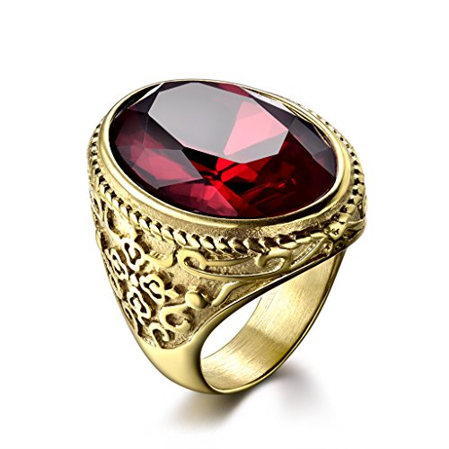 MASOP Mens 316L Stainless Steel Cocktail Ring Oval Created Ruby Gold Tone Rings Jewelry Accessories