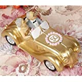 BuW Cake Toppers Golden Marriage Couples in A Golde Car 50th Anniversary Cake Topper