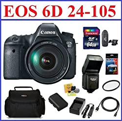 Canon Eos 6d Digital Slr Camera With 24-105mm Is Usm Lens Pro Kit - Includes 64gb Sdxc Memory Card, Extra Battery, Travel Charger, Flash, 77mm Uv Protection Filter, Camera Bag, Mini Hdmi Cable, Card Reader, Screen Protector & Lens Cleaning Kit