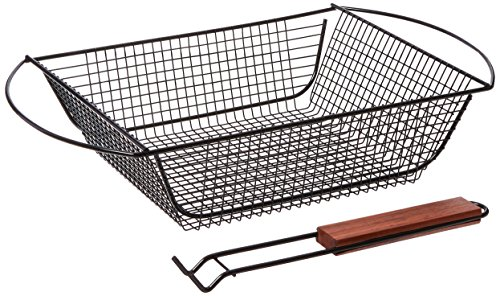 - Charcoal Companion Non-Stick Shaker Basket for Grilling with Rosewood Handle