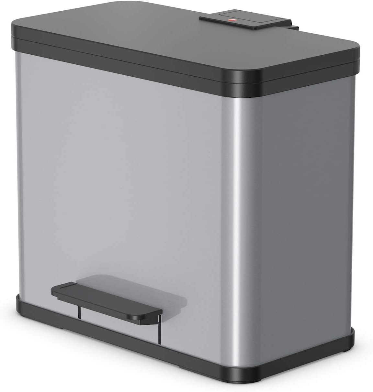 47 x 35 x 44 cm Negro Metal Hailo /Öko Duo Plus 30 Cubo de Basura