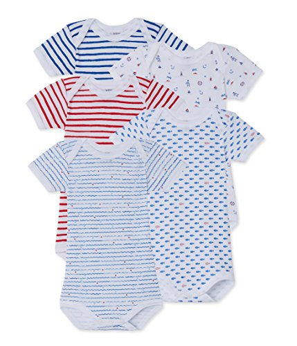 Petit Bateau Baby Boys' 5 Pack Short Sleeve Printed Bodysuits, Blue/Red, 6m by Petit Bateau