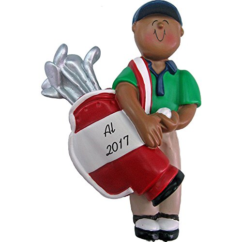 Golfer Personalized Christmas Ornament - Male - African American - Holding Bag of Clubs - Handpainted Resin - 4