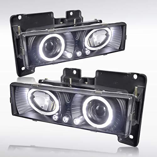 Autozensation Chevy GMC Sierra Yukon C10 C/K Pickup Black LED Halo Projector Headlights ()