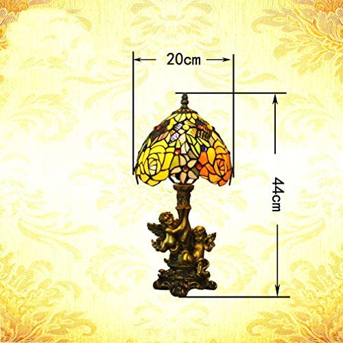 8-Inch Tiffany Style Table Lamp Stained Glass Rose Lampshade Decorative Desk Lamp With Angel Resin Base, Bedroom Bedside Lamp Creative Reading Lights