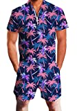 Goodstoworld Mens Jumpsuits 3D Tropical Leaves Print Zip up Romper Casual Grandad Shirt Cargo Shorts Overalls Playsuit for Men XXL