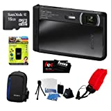 Sony DSC-TX30/B 18 MP Digital Camera w/ 5x Optical Image Stabilized Zoom and 3.3-Inch OLED (Black) + 16GB MicroSD Class 4 +Multi Card Reader Writer + Digital Camera Case + Floating Foam Strap Red + Flexible Tripod, Memory Card Wallet, 3pc Cleaning Kit