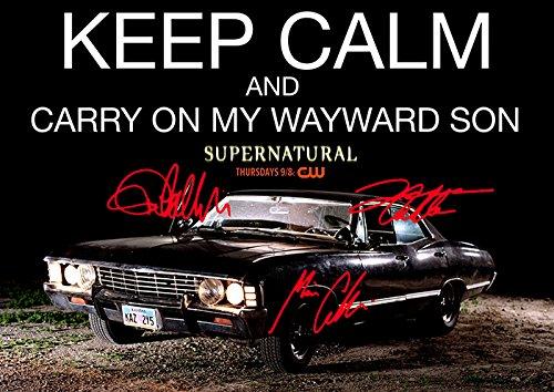 Supernatural Keep Calm And Carry On (11.7 X 8.3) Tv Print Jensen Ackles Jared Padalecki Misha Collins