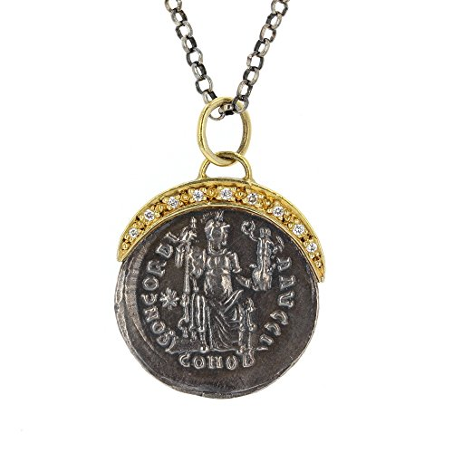 Diamond Pendant, 24Kt Gold Layered Diamond Old Coin Pendant With 16