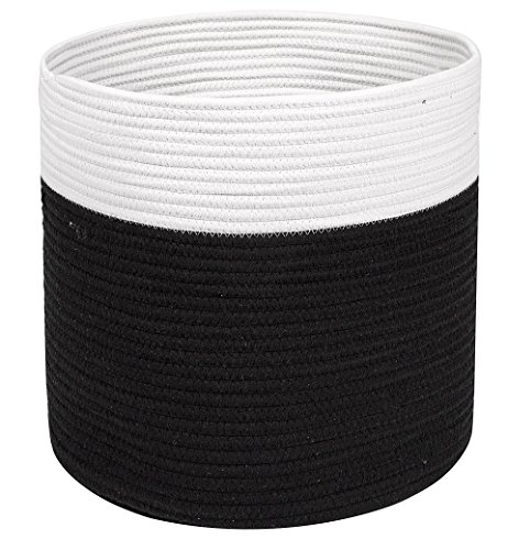 Large Cotton Rope Storage Basket - Black and Ivory Color Baskets - Woven Handles for Laundry or Toys - Magazine Container or Toy Bin - Nursery Organization and Baby Room - by Jolly Jon ()