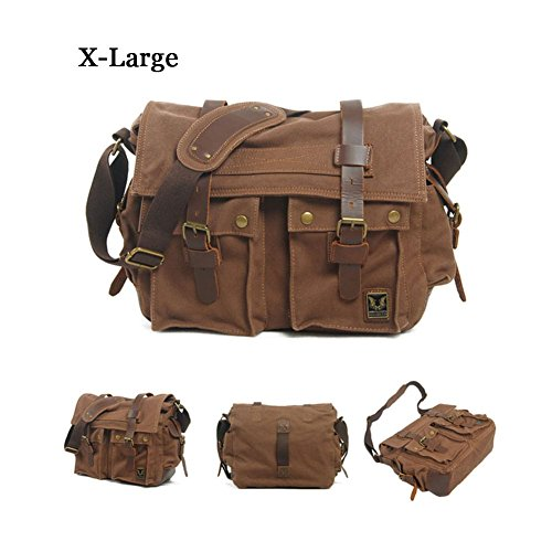 Vrikoo - Bolso al hombro para hombre Army Green X-Large Dark Coffee X-Large