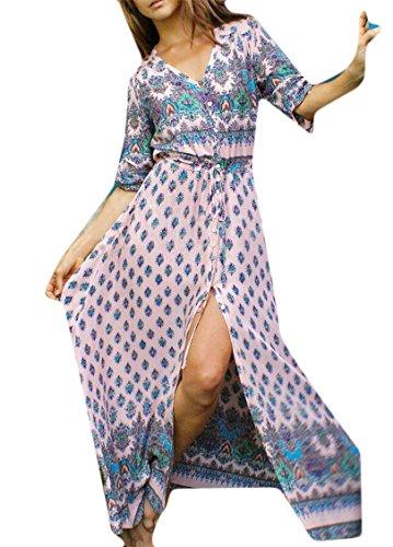 Jaycargogo Impression Femmes Mode Sexy En Mousseline De Soie Col V À Manches Longues Robes 3