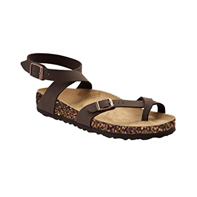 7e45794f936c Womens Thong Strappy Gladiator Flat Sandals Summer T Strap Ankle Strap  Buckle Cork Sole Flip Flops
