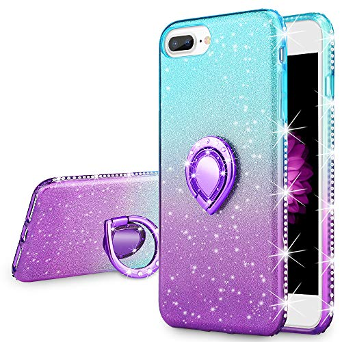 VEGO Case Compatibel for iPhone 7 Plus iPhone 8 Plus Glitter Gradient Ombre Bling Case with Ring Holder for Girls Women,Rhinestone Case with Kickstand for iPhone 7Plus/iPhone 8Plus Teal ()