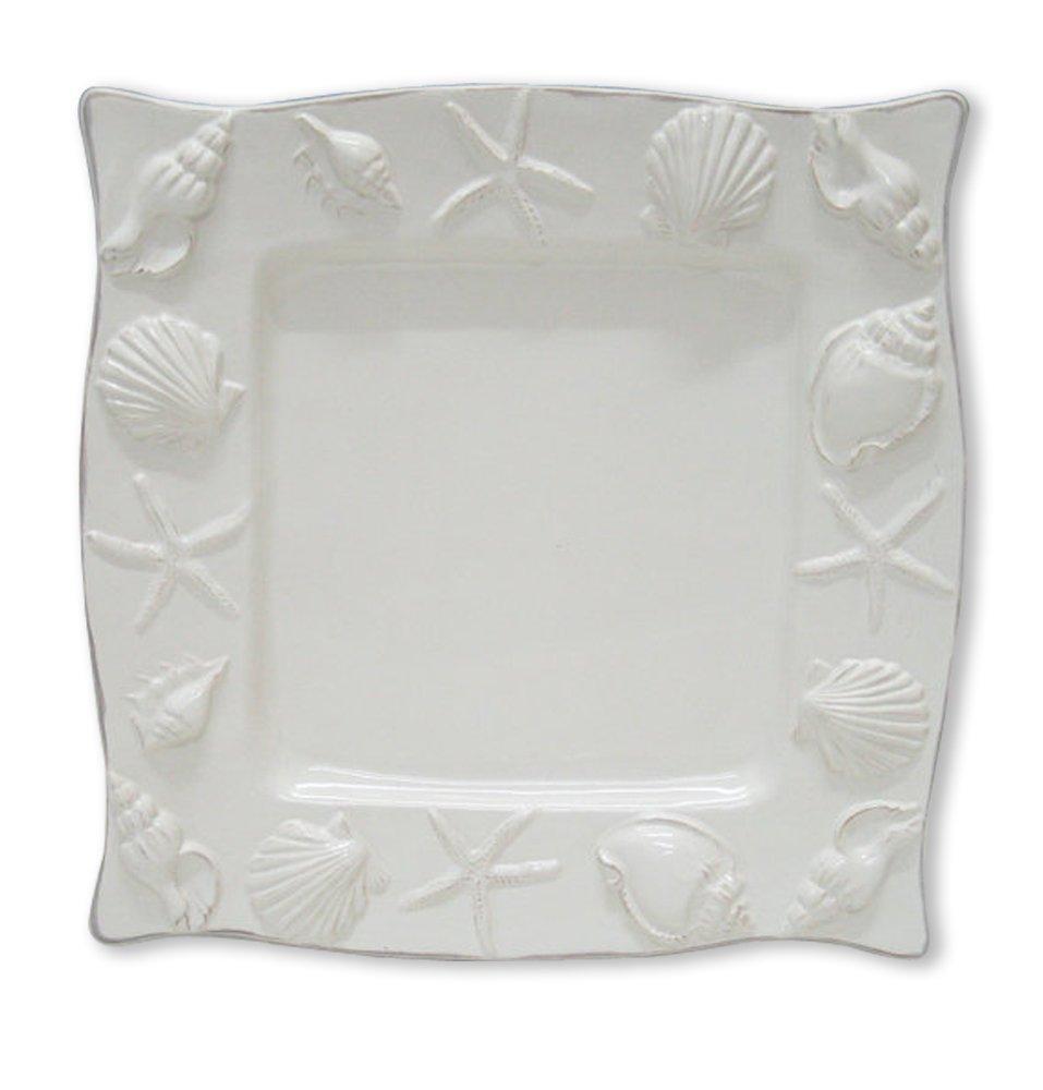 Blue Sky Ceramic Seahorse Square Plate, 11 x 11 x 1'', White