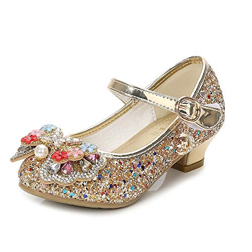 YING LAN Girls Cosplay Dress Wedding Party Shoes Glitter Sequins Low Heel Mary Jane Princess Shoes Gold by YING LAN