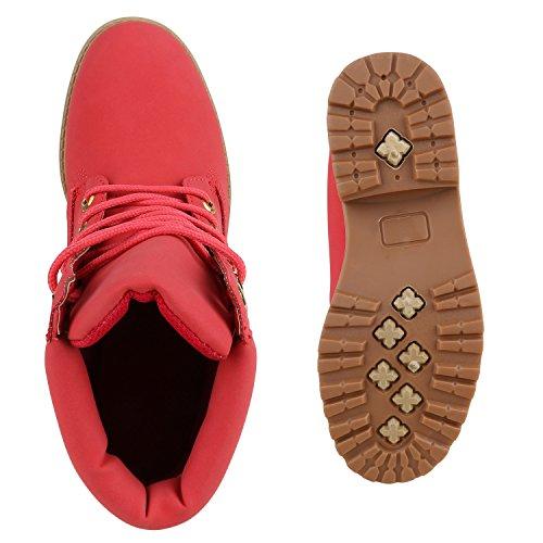 Stiefelparadies Warm Gefütterte Damen Stiefeletten Worker Boots Kunstfell Flandell Hellrot Rot Gold
