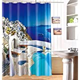 "LJ&L Landscape Bath curtain waterproof 3d printing Mildew Resistant Fabric polyester cloth bathroom curtain With hooks,E,71""W*71""H"