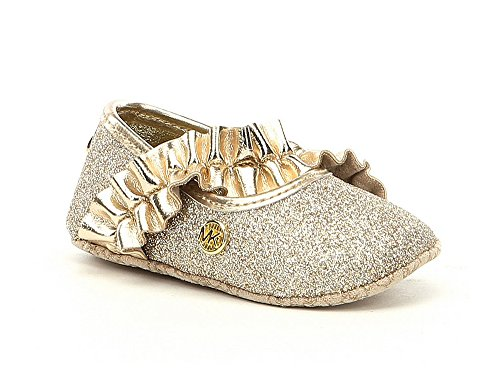 Michael Kors Girl's Baby Ruff Glitter and Metallic Ballet Flats Gold 4C (Kors Michael Jane)