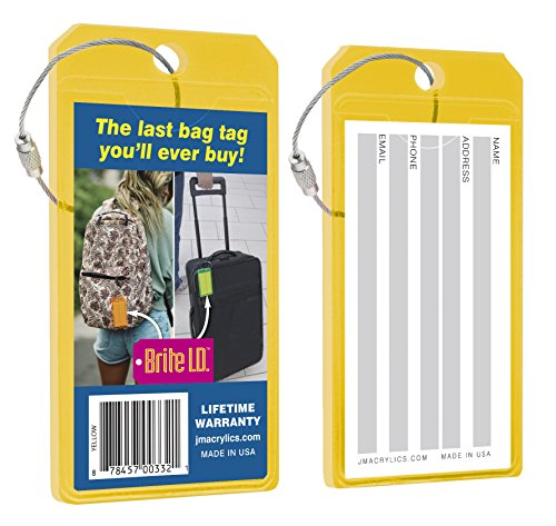 Yellow Neon Luggage Tag (Brite I.D. Neon Yellow Luggage Tags, Pack of 2)