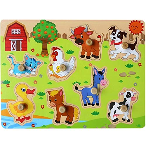 Muxihosn Farm Animals Wooden Peg Puzzles with Tray Home Preschool Learning Educational Development Jigsaw Game Toddler Toy with Handles for Kids Children Boys Girls Age 2-5