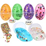 FabQuality Egg Slime Soft Non-Toxic Colourful Fluffy Slime Egg Scented Stress Relief Toy Sludge Toys Magic Crystal Clay with Bonus Pearl and Beads in Easter Eggs (6 Pack)