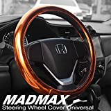 Madmax Steering Wheel Cover, Universal 14.5 Inches PU Leather Wheel Cover, Glossy Finish, Soft Padding, Durable, Odorless, Synthetic Leather, Comfort Grip Handle
