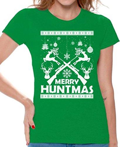 We Will Rock You Costumes Ideas (Awkward Styles Merry Huntmas Tshirt Women's Ugly Christmas Shirt Hunter Gift Ideas Green L)