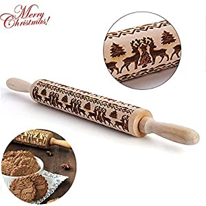 Embossing Rolling Pins Christmas Wooden Rolling Pins with Christmas Symbols for Baking Embossed Cookies, Cooking Roll Pin Tool with Christmas Deer Pattern Design