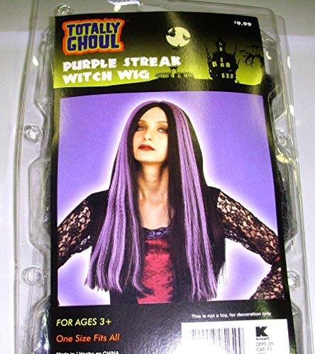 Wig Streaked Witch - Black Purple Streaked Witch Wig Adult Curly OSFM 3+ NIP