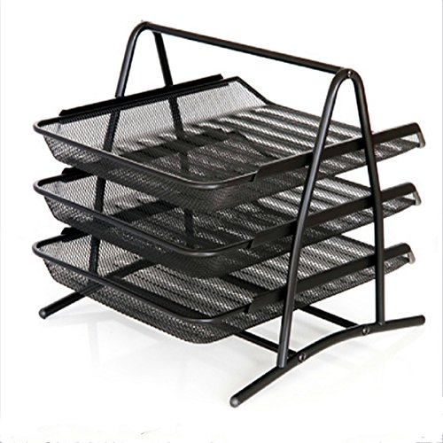 Caveen 3 Tiers Black Mesh Filling Front Load Letter Paper Storage Tray Organizer Home Office Use