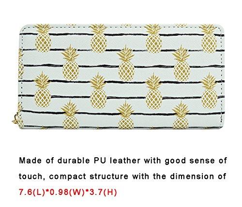 8 Purse Card Holder Pattern Designer Pineapple Wallet Zipper Badiya Credit Clutch Print zP8BHT